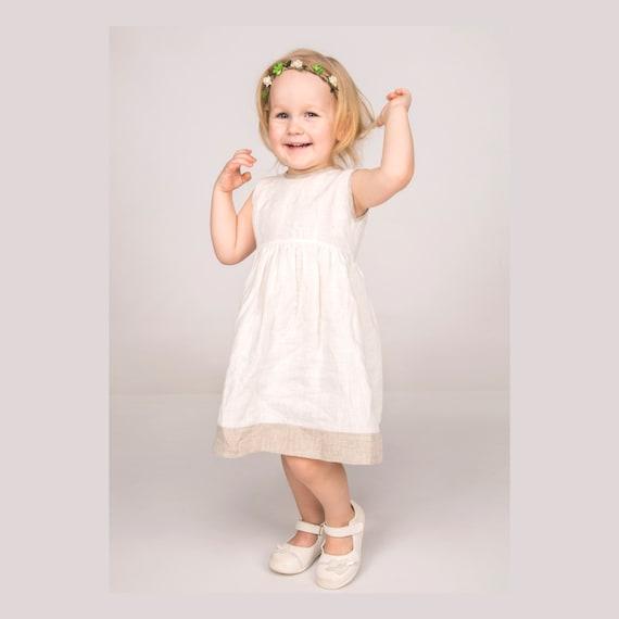 Mädchen Leinenkleid Weiß Taufe Kleid Leinen Sommerkleid Baby Mädchen Kleid Weißes Leinen Kleid Festliches Kleid