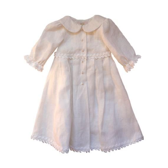 Leinen Weiß Taufe Kleid Baby Mädchen Leinen Kleid Weißes Leinen Kleid Kleinkind Kleid Häkeln Bänder Taufe Kleid
