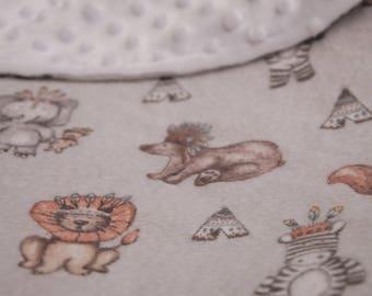 Handmade Tribal Animals Minky Dot Pram, Stroller or Car Blanket