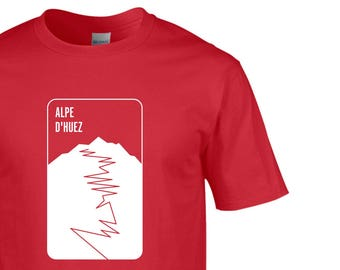 Alpe D'Huez, Men's, T-Shirt, Retro, Tour de France, King of the Mountains, Road, Cycling Clothing, Cycling, NEW