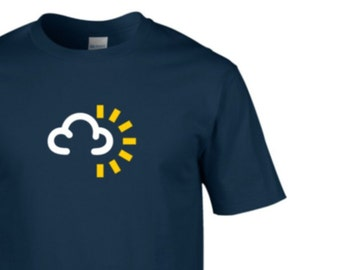 Mens Retro TShirt, Weather Forecast, Weather Symbol, Summer, Cloudy, Sunny Intervals, Retro, Clothing, Gifts, Gifts for him, NEW