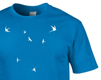 bf90c0dfb5fd Swallows, Swallows Tshirt, T shirt, Birds Tshirts, Retro T-shirts, Bird  tshirts, Bird T-shirts, Gifts for him, Novelty gifts, Bird Watchers