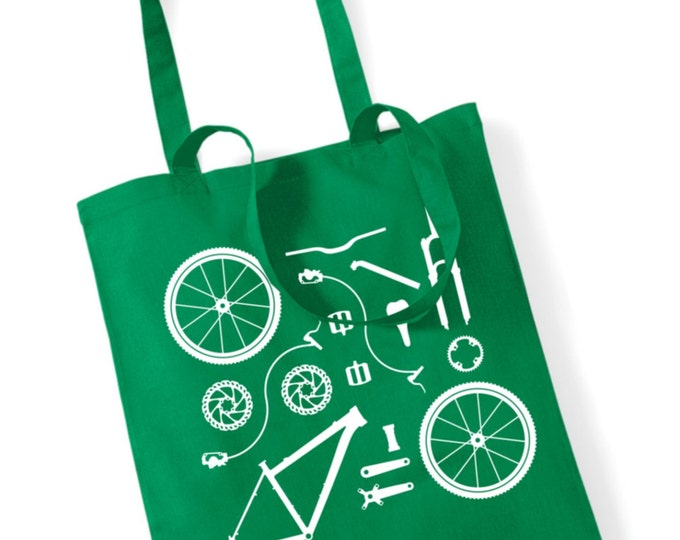 8060c6518fb8 Bicycle Bike Parts Bag for life Shopping Shopper Tote Bags Women s Men s Retro  Cycling Shop Gift
