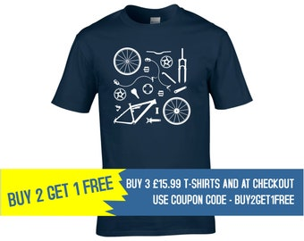 ce2a4528 Cycling Gifts, Bike Parts, Bicycle parts t-shirt, Buy 2 Get 1 Free, Men's  Cycling T shirt, Full Suspension, Airfix Model, T-Shirt, Cycling