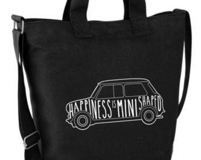 d85762c1db55 Happiness is Mini Shaped Canvas Day Bag Summer Holidays Classic Mini Retro  NEW