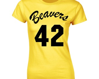 present Fancy Dress Howard Teen Wolf Beavers 42 Yellow Basketball T-Shirt