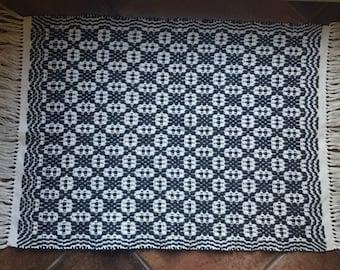 Handwoven Black & White Overshot Rug
