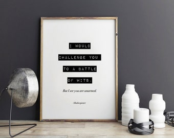Shakespeare quote - Printable Motivational Print, Fashion Print, Inspirational quote, Typography, Office Print wall decor