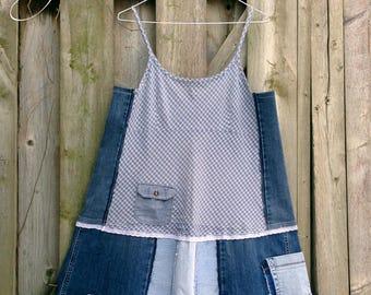 Upcycled Denim Patchwork Tunic, Jumper Dress, Patchwork Artsy Tunic, Funky Tunic, Sustainable, Ecocloth, Boho, Large-Extra Large, Pinafore