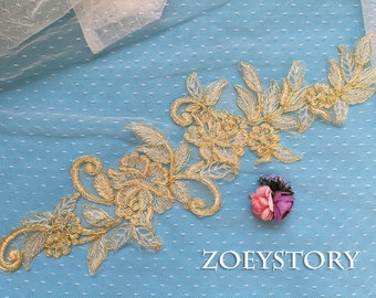 30% off!!! Gold Lace Applique, Gold Bridal Lace, Gold Alencon Lace, Sell By Mirror Pair (AL133)