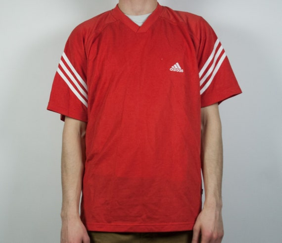 Original ADIDAS T-shirt street wear athletic vintage retro red  062a17c754710