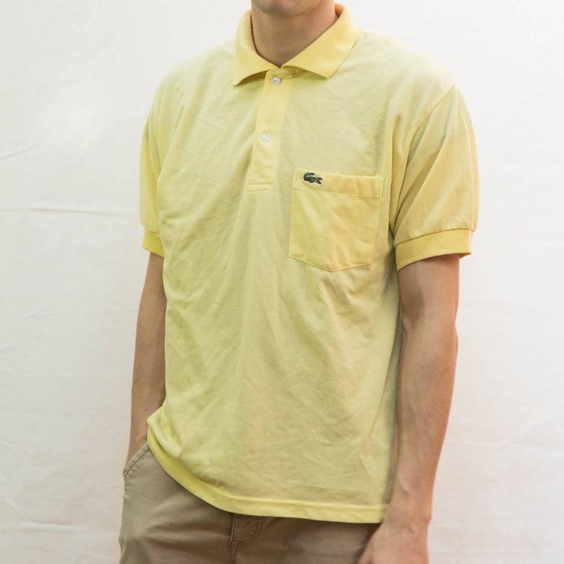Authentic Look Athletic Yellow Classic Street Polo Vintage Sportswear Wear Shirt Lacoste Urban Striped Apparel Original Retro OkZuiPX