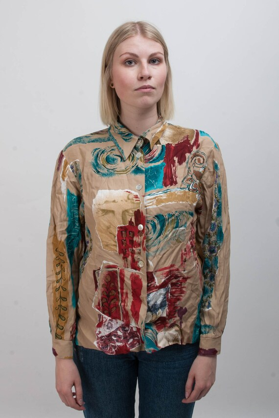 Classy Vintage women blouse colorful pattern print