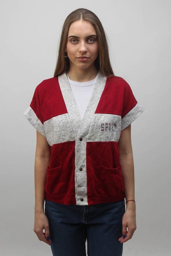 Vintage Sporty Vest Buttons Down Casual Women Waistcoat Vest