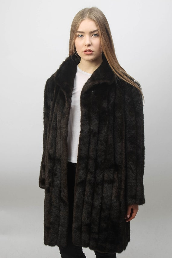 Brown Faux fur Coat | Vintage Fake Fur Coat | Wome