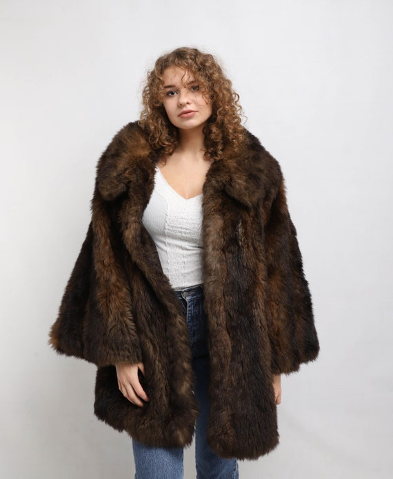 Soft and warm Faux fur coat | Vintage Fake fur coa