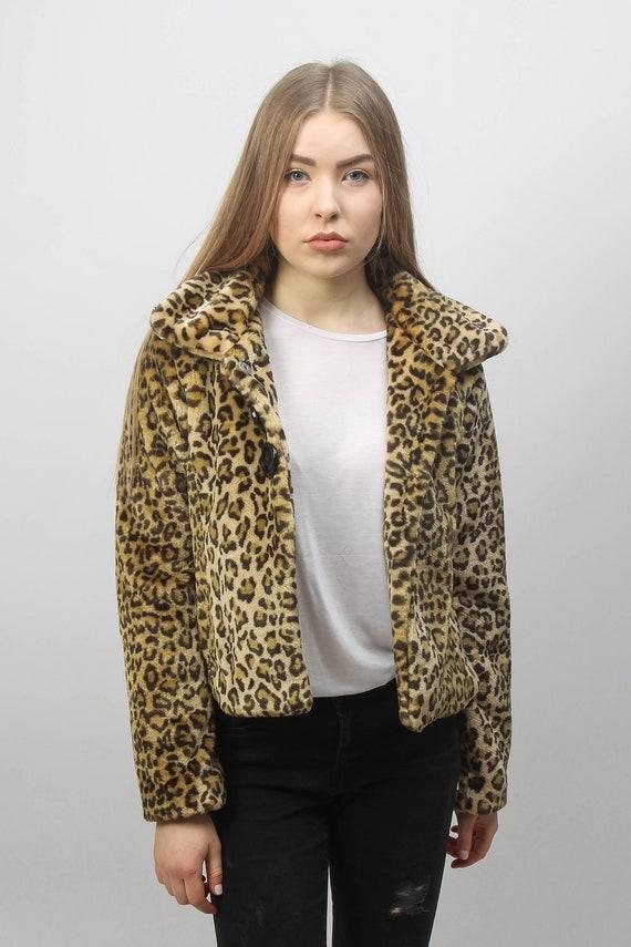Faux fur coat | Mid Waist | Vintage leopard patter