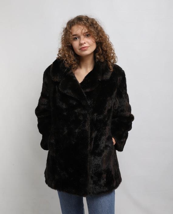 Faux fur Coat | Vintage Dark Brown Fake Fur Coat |