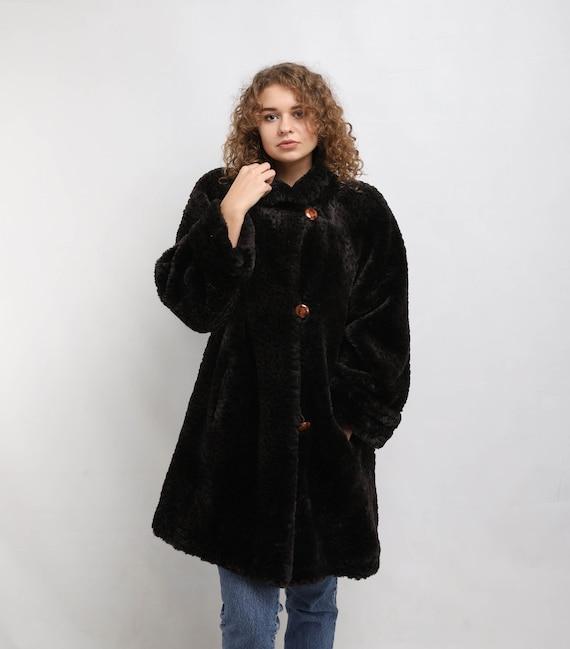 Faux fur Coat | Vintage Dark Fake Fur Coat | Women