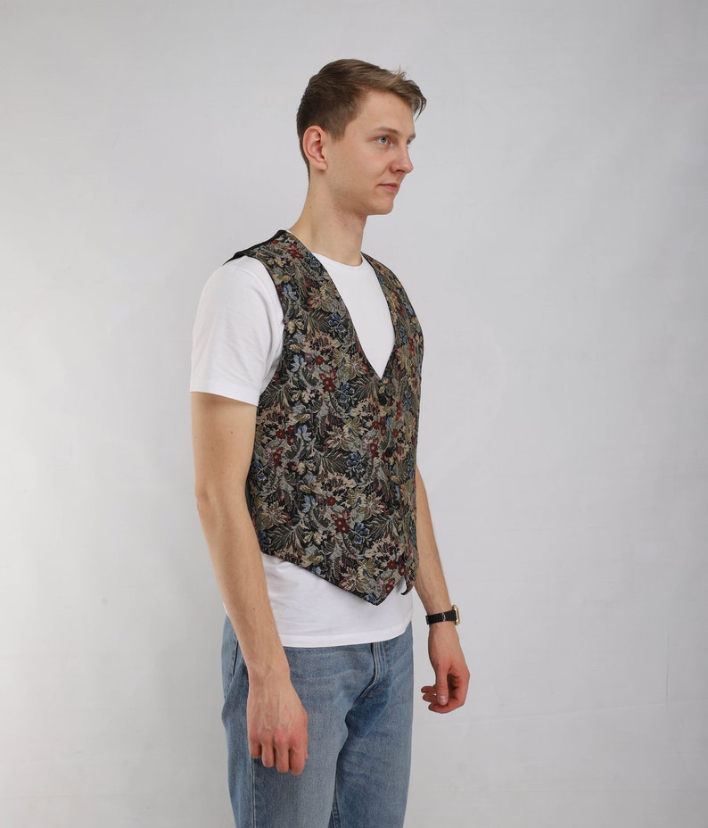 Vintage classy floral pattern 90s style vest buttons down formal women waistcoat Rayon collectible vest 80s apparel old school wear