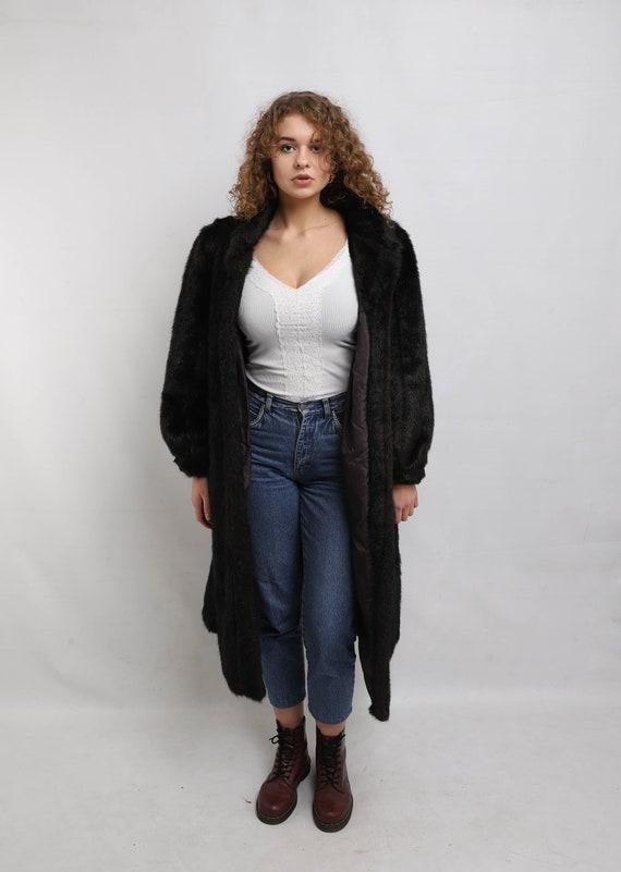 Long Faux fur Coat | Vintage Dark Fake Fur Coat |