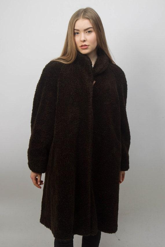 Classic 1980s Fancy Faux Warm Winter Vintage Men Fake Brown Coat Fur Women Winter Mad Jacket Coat Coat Coat fur Starlet ZAOSagqv