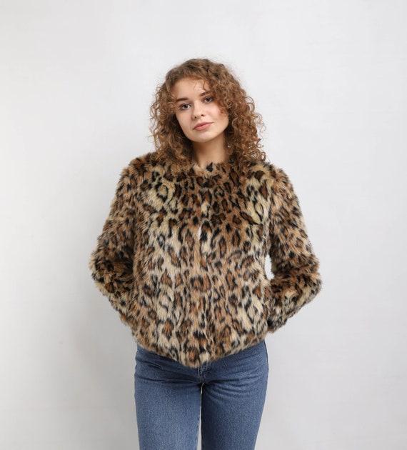 Faux fur coat | Mid Waist | Vintage leopard pelt p