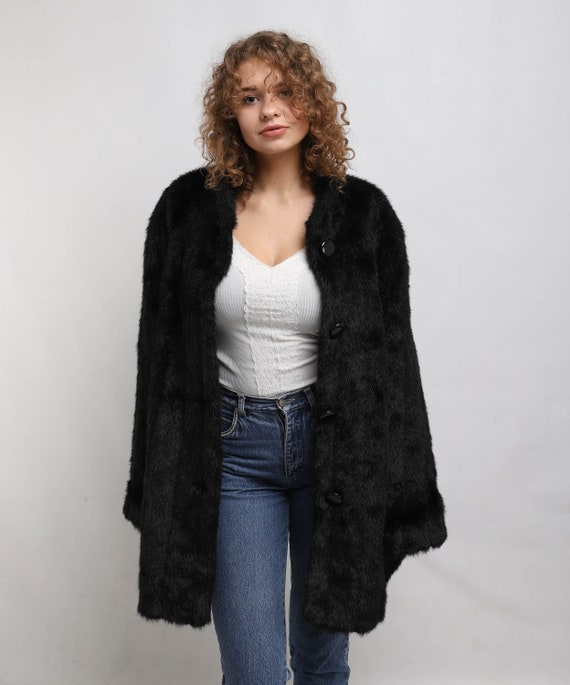 Black Faux fur Coat | Vintage Fake Fur Coat | Wome