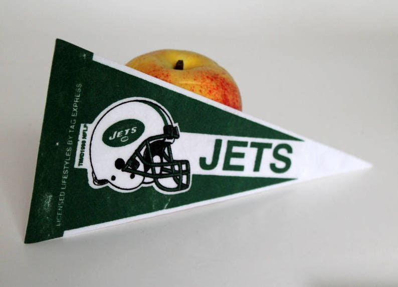 09d9b1ba Vintage Mini Felt Pennant, New York Jets, NFL Small 9 Inch Banner, Football  Flag, Collectible Sports Souvenir, 1990's