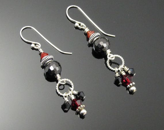 Earrings, Sterling Silver, red and black, UGA