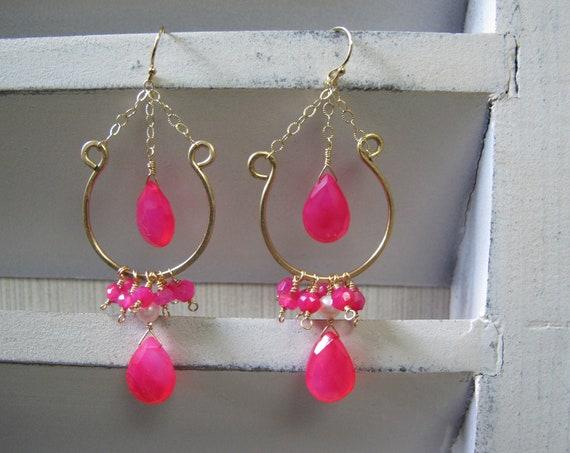 Earrings, Chandelier 14K Gold Filled, Handmade Boho Drop Tassel hoop Earrings