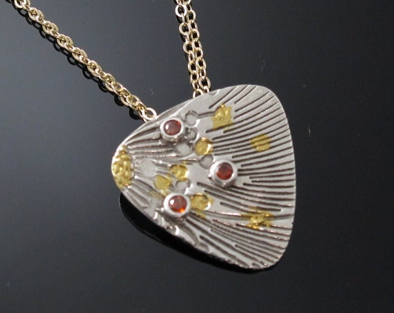 Gold Necklace, Handmade Sterling Silver and 24K gold Keum-Boo Pendant with Gold Filled chain and Hessonite cz
