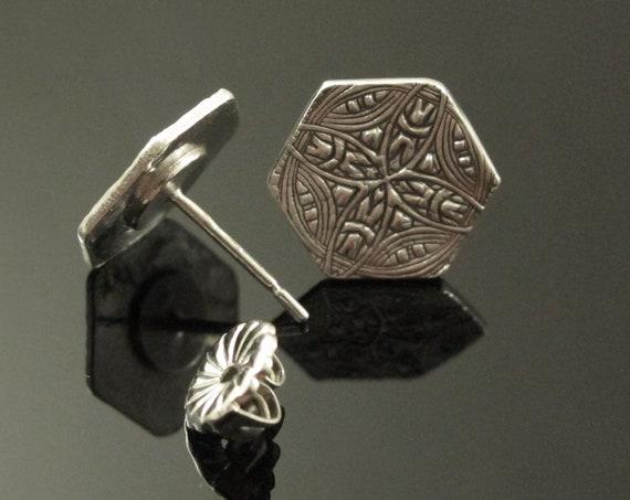 Post Earrings, Hexagon, Fine Silver Earrings