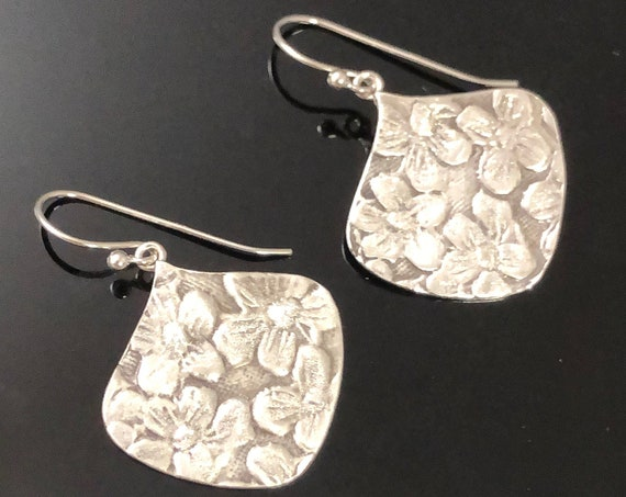 Flower Earrings, Hancrafted with Fine Silver