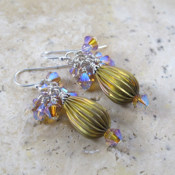Earrings,  Sterling, Crystal and Brass Yellow and Purple