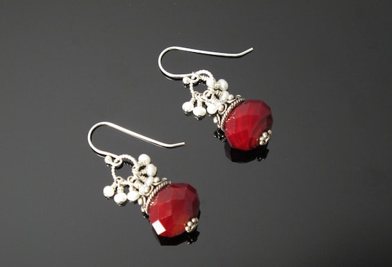 Red Earrings with Sterling Silver and White, Freshwater Pearls