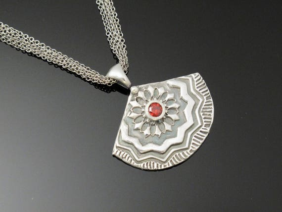 Necklace, Fine Silver Designer Fan Necklace with cz