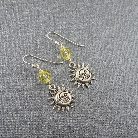 Sun and Moon Earrings with yellow Swarovski Crystal