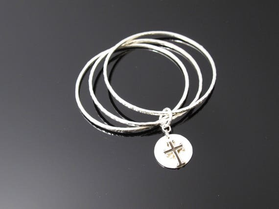 Handmade Bracelet, Three Sterling Bangles with Sterling Cross