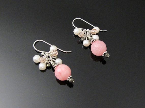 Pink Dangle Earrings with Sterling, Pearls and Pyrite