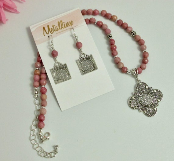 Necklace Set, Handcrafted Pink Rhodonite and Sterling Silver