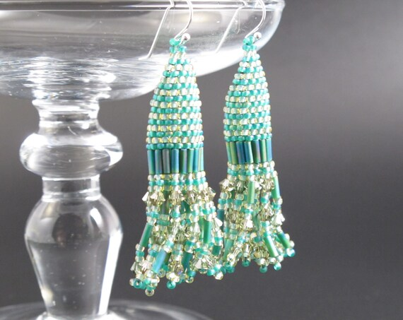 Earrings,  Handmade beaded Turquoise and Olive Swarovski Crystal Earrings