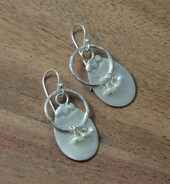 Earrings, Up Cycled earrings made from Antique Sterling Silver Salt Spoons