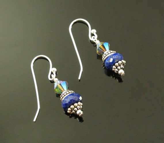 Blue Earrings, Lapis and Sterling Earrings
