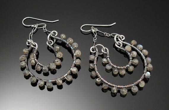 Sterling Silver and Labradorite Double Hoop Dangle Earrings