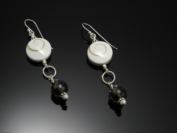 Handmade Sterling Earrings, Brown dangles with White Shiva Eye Shell Beads