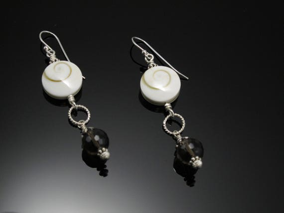 Earrings, Brown dangles with White Shiva Eye Shell Beads and Sterling Silver, Handmade