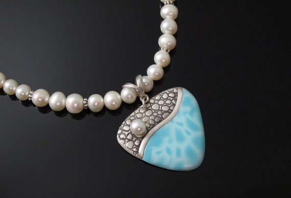 Caribbean Blue Elegant Necklace, Handmade Sterling Silver, Faux Larimar and Freshwater Pearls
