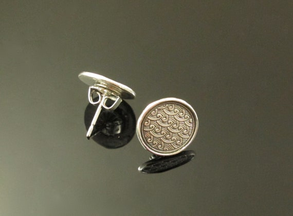 Wavy Post Earrings, Fine Silver with Sterling Silver Posts