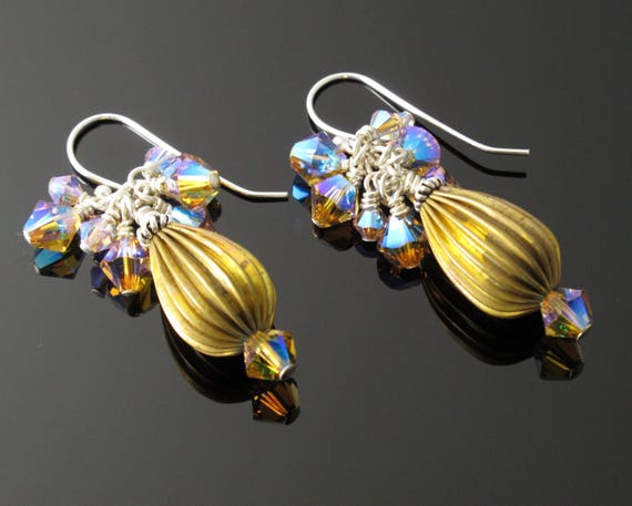 Earrings,  Sterling, Crystal and Brass